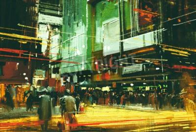 Canvastavlor stadsbild målning, skaror av människor på en upptagen korsning gata