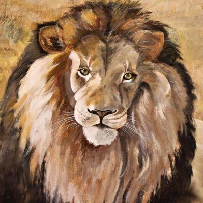 Canvastavlor Stående av stora vackra manliga afrikanska lejon