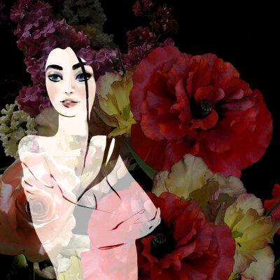 Canvastavlor Stående av vacker brunett på blommig bakgrund