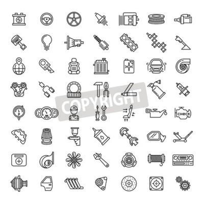 Canvastavlor Ställ ikoner för bildelar för bilar. Automatisk service reparation symbol, växelmotor, nyckel och filter, vektor illustration