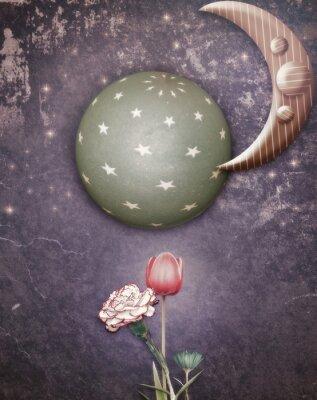 Canvastavlor Starry natten med månen och blommor på våren