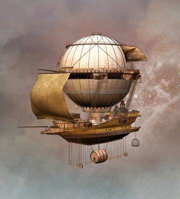 Canvastavlor Steampunk vintage luftskepp