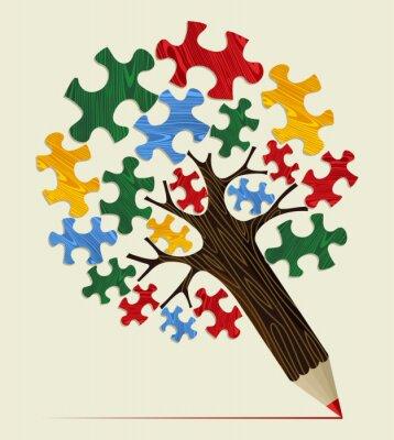 Canvastavlor Sticksåg strategiskt koncept penna träd