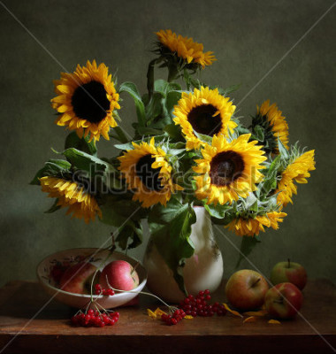 Canvastavlor Still life with sunflowers and apples