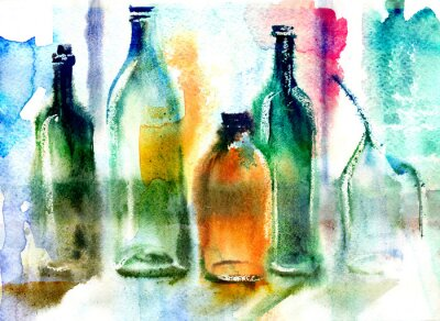 Canvastavlor Stilla liv av olika flaskor