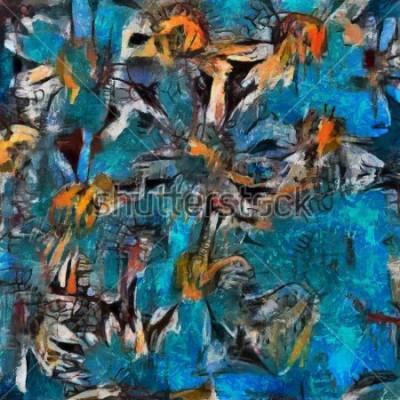 Canvastavlor Stilla liv en bukett av tusensköna i en blå vas. Expressives pastosutförande. Olja på duk med element i pastellmålning i modern stil.