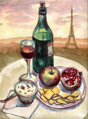 Canvastavlor Stilleben framför Eiffeltornet i Paris. akvarellmålning