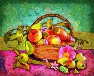 Canvastavlor stilleben med äpplen