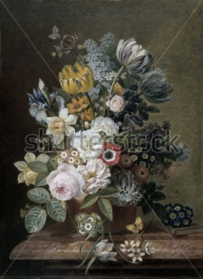 Canvastavlor Stilleben med blommor, av Eelke Jelles Eelkema, c. 1815-39, holländsk oljemålning, olja på duk. Bukett med rosor, tulpaner, påskliljor, iris, på en stensockel. Bland blommorna är en fjäril. En sma