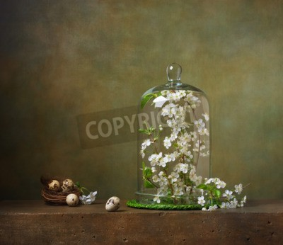 Canvastavlor Stilleben med cloche med blommande trädgrenar