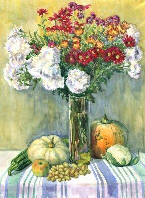 Canvastavlor Stilleben med en bukett blommor, frukt och grönsaker. akvarellmålning