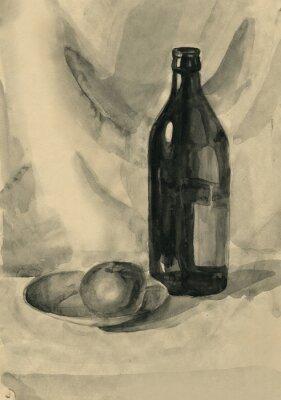 Canvastavlor Stilleben med en flaska och ett äpple, vattenfärg
