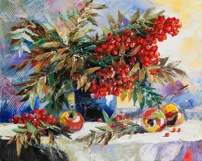 Canvastavlor Stilleben med en rönn och äpplen