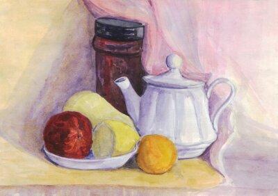 Canvastavlor Stilleben med frukt och vattenkokare. Päron, citron, mandarin på plattan. akvarellmålning