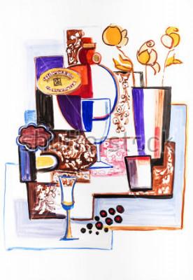 Canvastavlor Stilleben med keramiska flaskor
