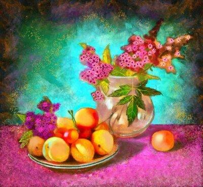 Canvastavlor stilleben med persikor
