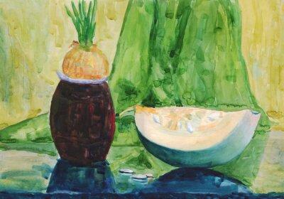 Canvastavlor Stilleben med pumpa. akvarellmålning