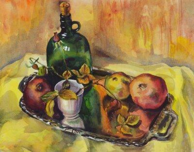 Canvastavlor Stilleben med rosor, granatäpplen och en flaska vin på en bricka. akvarellmålning