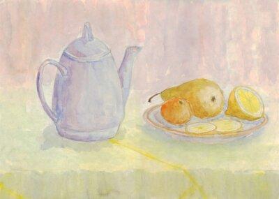 Canvastavlor Stilleben med vattenkokare och frukt. Päron, citron, mandarin på plattan. akvarellmålning