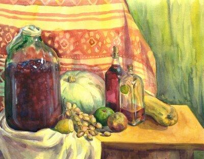 Canvastavlor Stilleben med vin, frukt och grönsaker. akvarellmålning