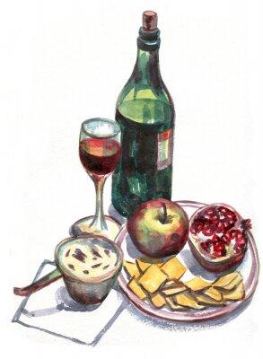 Canvastavlor Stilleben med vin och frukt. akvarellmålning