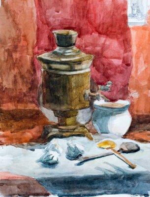 Canvastavlor Stilleben, vattenfärg teckning
