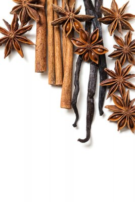 Canvastavlor Stjärnanis, kanel och vaniljstång
