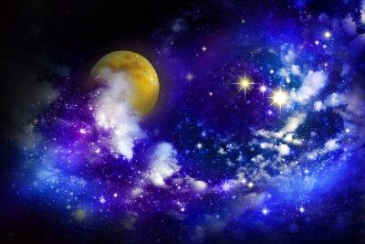 Canvastavlor Stjärnor och fullmåne på natthimlen.
