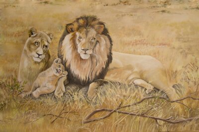 Canvastavlor Stolthet av lejon på semester