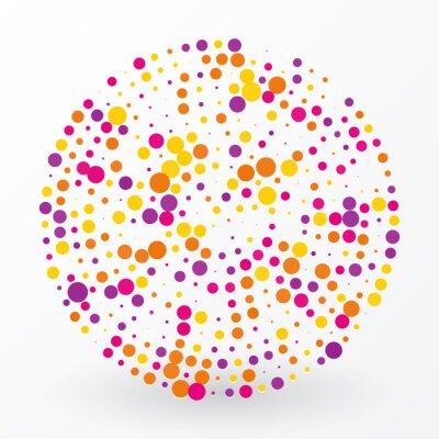Canvastavlor stor färgad cirkel av små prickar
