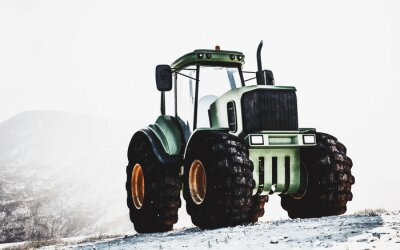 Canvastavlor Stor tungt grön traktor på ett berg