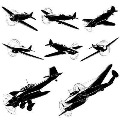 Canvastavlor Stor uppsättning vektor silhuetter av gamla fighters
