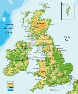 Storbritannien Och Irland Fysisk Karta Canvastavlor Pa Vagg