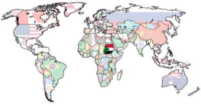 Canvastavlor sudan territorium på världskartan