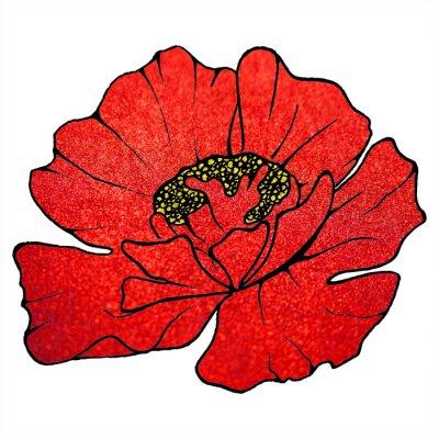 Canvastavlor Suddig röd scharlakansröd glitter blomma vallmo bakgrund textur