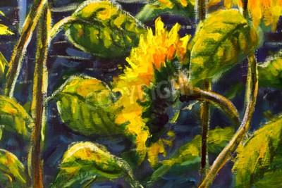 Canvastavlor sunflowers in sun Original oil painting of sunflower flowers, beautiful sunflowers flowers on canvas. Modern Impressionism.Impasto artwork.