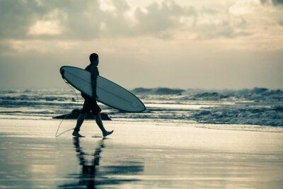 Canvastavlor surfare silhuett under solnedgång