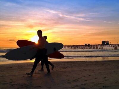 Canvastavlor Surfers Sunset Oceanside Pier Beach San Diego Kalifornien USA