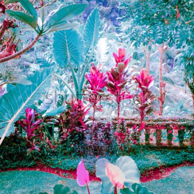 Canvastavlor Surrealistiska färger av fantasi tropisk trädgård med fantastiska växter och blommor