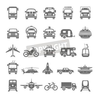 Canvastavlor Svart ikoner Transport