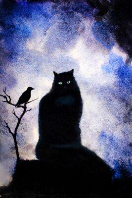 Canvastavlor svart katt med gröna ögon