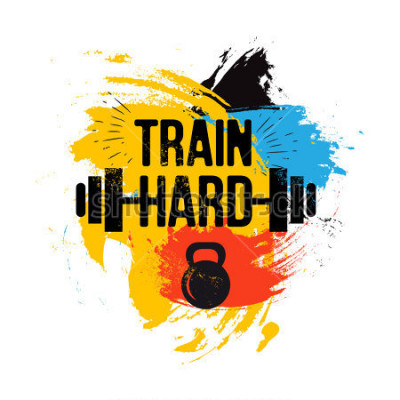 Canvastavlor svart kettlebell och barbell på färgstark pensel bakgrund med inspirerande fras - träna hårt. Fitness sport citat. Vektorillustration för bodybuilding klubb, t-shirt, affisch
