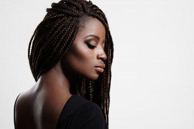 Canvastavlor svart kvinna med flätor och kvälls sotiga ögon