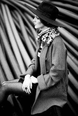 Canvastavlor svart och vit kvinna mode