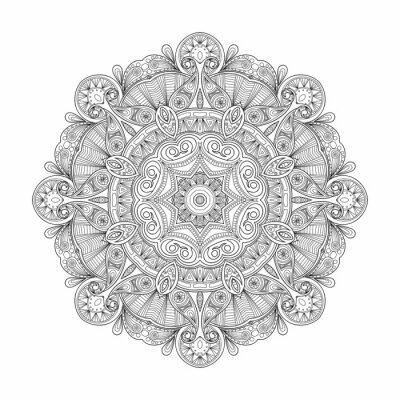 Canvastavlor Svart och vitt abstrakt cirkulär etniska mönster mandala.