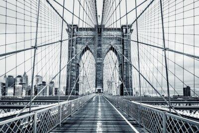 Canvastavlor Svart och vitt Brooklyn Bridge