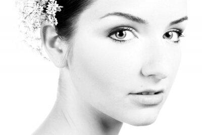 Canvastavlor Svart och vitt närbild av en vacker kvinna