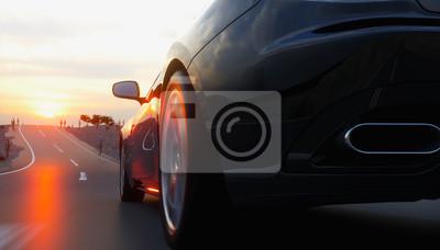 Canvastavlor Svart sportbil på väg, motorväg. Mycket snabb körning. 3D-rendering.