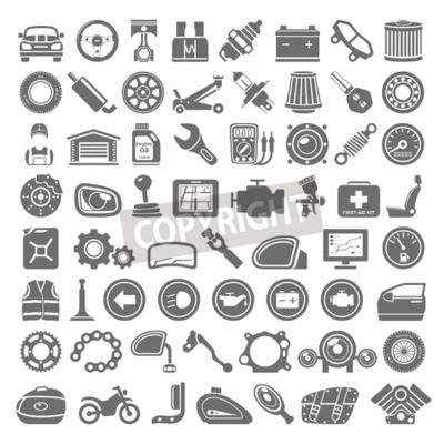 Canvastavlor Svarta Ikoner - Bil och Motorcycle Parts