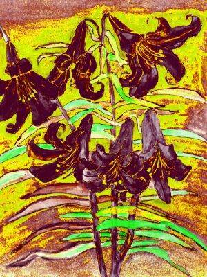 Canvastavlor svarta liljor